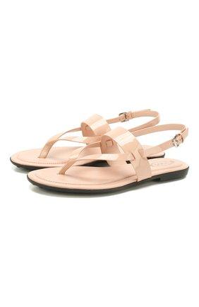 Женские кожаные сандалии TOD'S светло-розового цвета, арт. XXW00V0T8000W0 | Фото 1