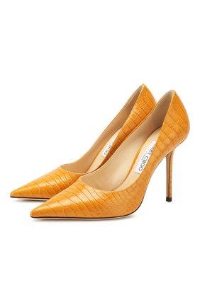 Женская кожаные туфли love 100 JIMMY CHOO желтого цвета, арт. L0VE 100/CCL | Фото 1