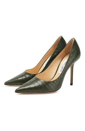 Женская кожаные туфли love 100 JIMMY CHOO темно-зеленого цвета, арт. L0VE 100/CCL | Фото 1