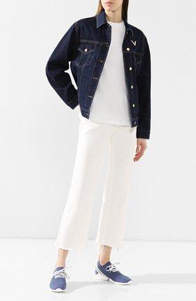 Женские текстильные кроссовки GIORGIO ARMANI синего цвета, арт. X1X020/XM335 | Фото 2 (Материал внешний: Текстиль; Материал внутренний: Натуральная кожа; Подошва: Платформа)