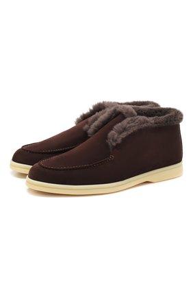 Женские замшевые ботинки LORO PIANA коричневого цвета, арт. FAG3602 | Фото 1