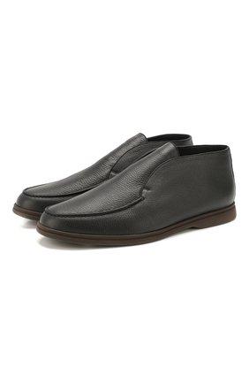 Мужские кожаные ботинки open walk LORO PIANA темно-серого цвета, арт. FAI5538 | Фото 1