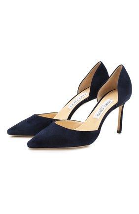 Женская замшевые туфли esther 85 JIMMY CHOO темно-синего цвета, арт. ESTHER 85/SUE | Фото 1