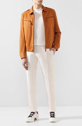 Мужские кожаные кеды ZEGNA COUTURE белого цвета, арт. A3068X-LHSPT | Фото 2