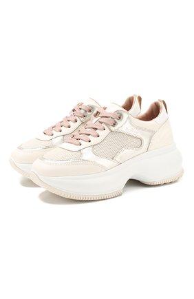 Женские комбинированные кроссовки HOGAN бежевого цвета, арт. HXW4350BS92N3U | Фото 1