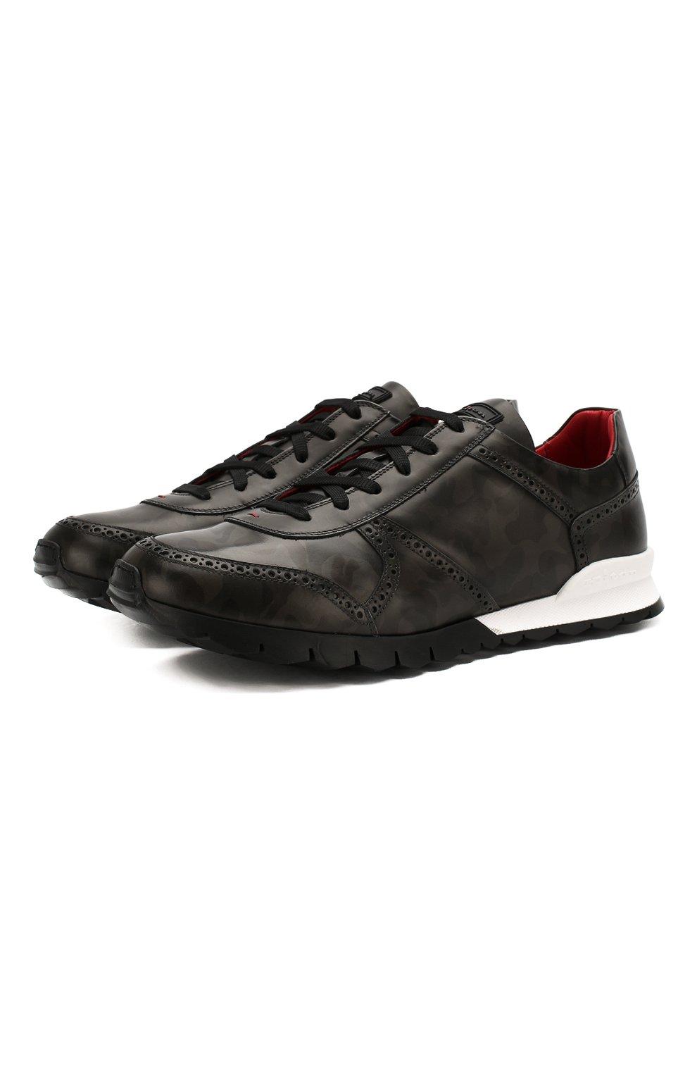 Мужские кожаные кроссовки KITON серого цвета, арт. USSARMYN00649   Фото 1