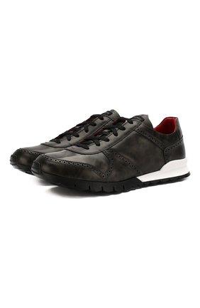 Мужские кожаные кроссовки KITON серого цвета, арт. USSARMYN00649 | Фото 1