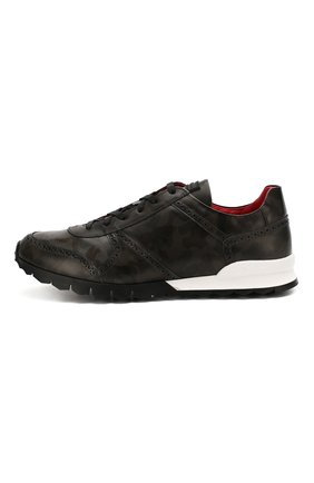Мужские кожаные кроссовки KITON серого цвета, арт. USSARMYN00649   Фото 3