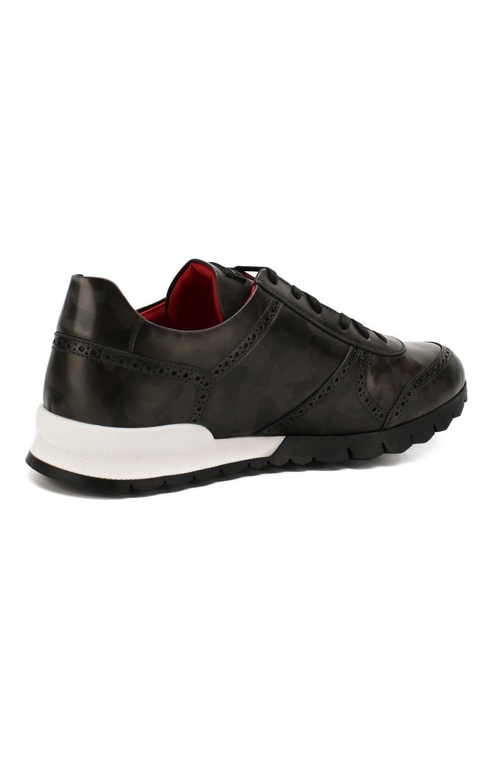 Мужские кожаные кроссовки KITON серого цвета, арт. USSARMYN00649   Фото 4