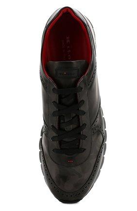 Мужские кожаные кроссовки KITON серого цвета, арт. USSARMYN00649   Фото 5
