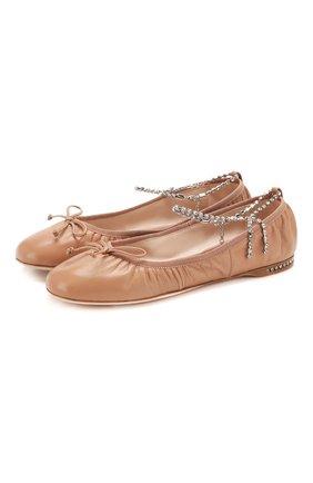 Женские кожаные балетки MIU MIU бежевого цвета, арт. 5F916C/038 | Фото 1