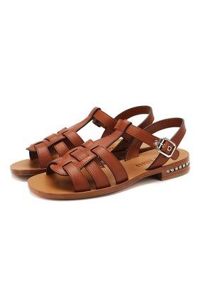 Женские кожаные сандалии MIU MIU коричневого цвета, арт. 5X055D/3ARW | Фото 1