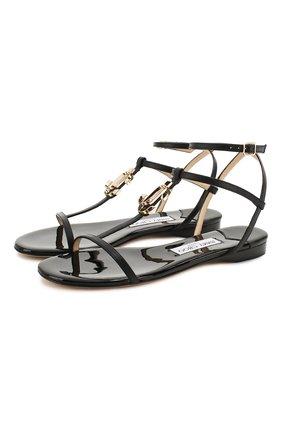 Женские кожаные сандалии alodie JIMMY CHOO черного цвета, арт. AL0DIE FLAT/NPA | Фото 1