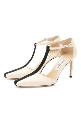 Женская кожаные туфли batu 85 JIMMY CHOO кремвого цвета, арт. BATU 85/QCL | Фото 1