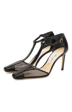 Женские комбинированные туфли batu 85 JIMMY CHOO черного цвета, арт. BATU 85/ZHP | Фото 1