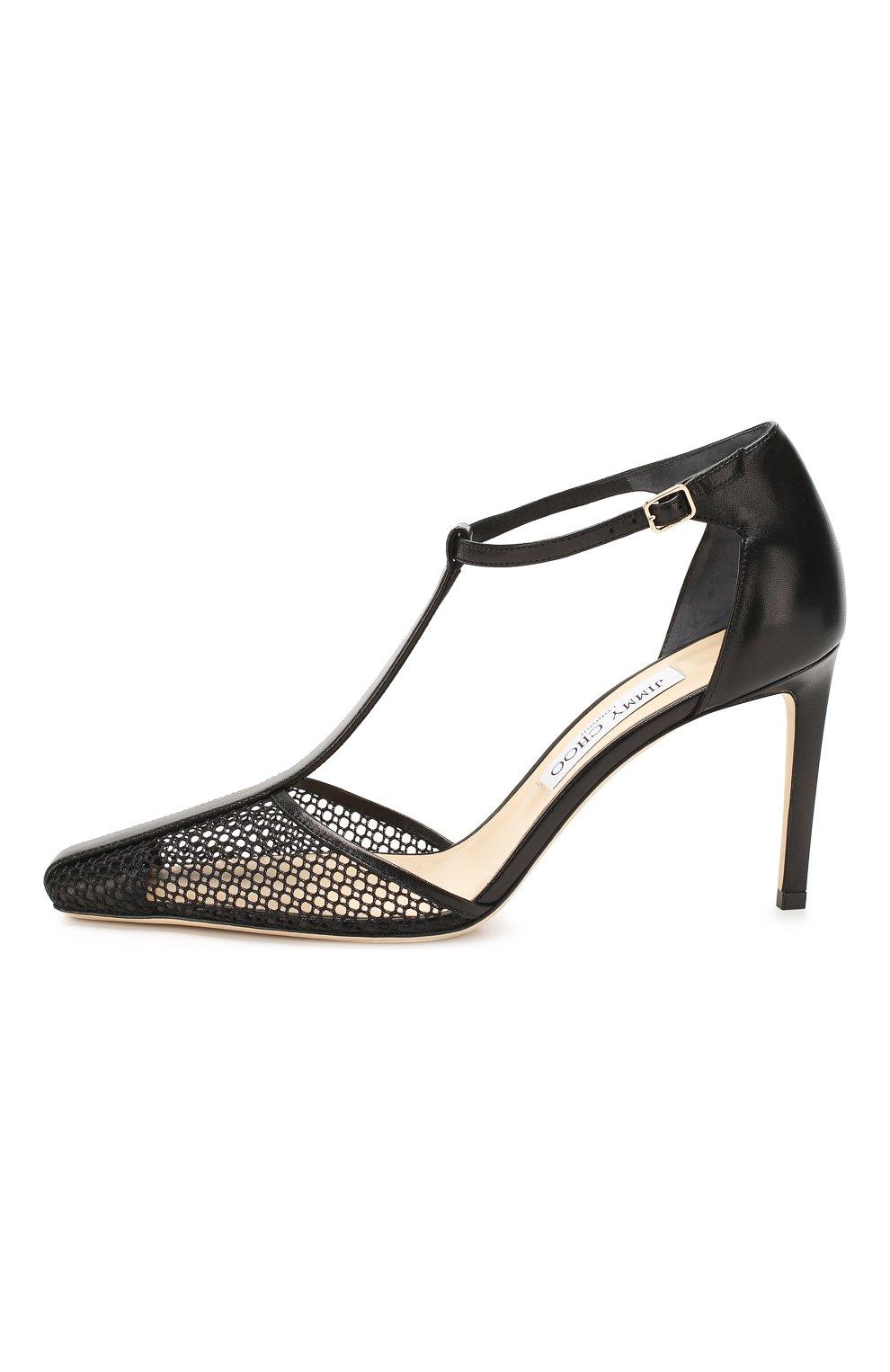 Женские комбинированные туфли batu 85 JIMMY CHOO черного цвета, арт. BATU 85/ZHP | Фото 3