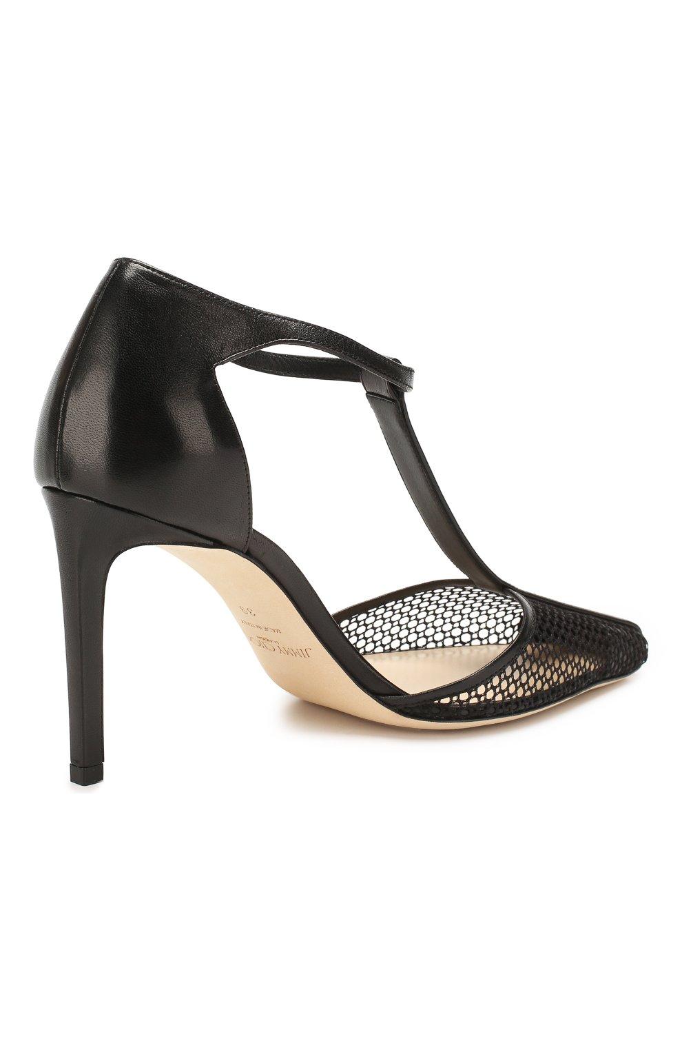 Женские комбинированные туфли batu 85 JIMMY CHOO черного цвета, арт. BATU 85/ZHP | Фото 4