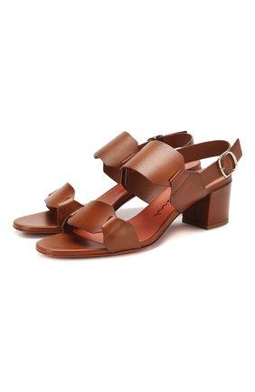Женские кожаные босоножки SANTONI коричневого цвета, арт. WHTH58734HI2TLGAC30 | Фото 1