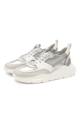 Женские кожаные кроссовки SANTONI серебряного цвета, арт. WBKI60668GEGGSFAG41 | Фото 1