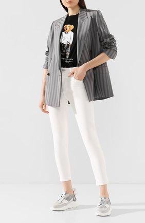 Женские кожаные кроссовки SANTONI серебряного цвета, арт. WBKI60668GEGGSFAG41 | Фото 2
