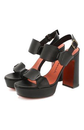 Женские кожаные босоножки SANTONI черного цвета, арт. WHV058719HX2TLGAN01 | Фото 1