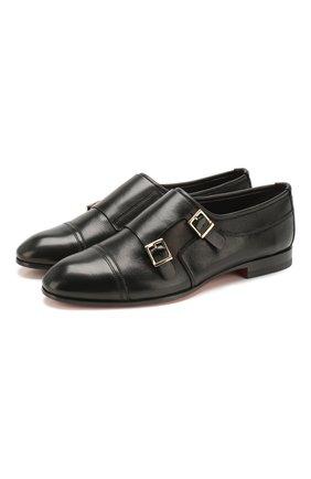 Женские кожаные монки SANTONI черного цвета, арт. WUSM58694BI3TUNSN01 | Фото 1