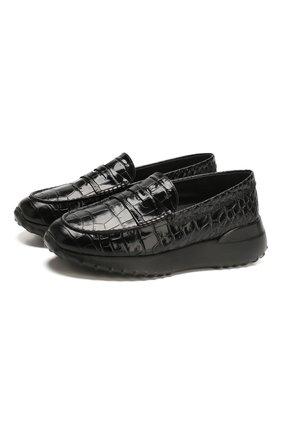 Женские кожаные пенни-лоферы TOD'S черного цвета, арт. XXW80A00012WEN | Фото 1
