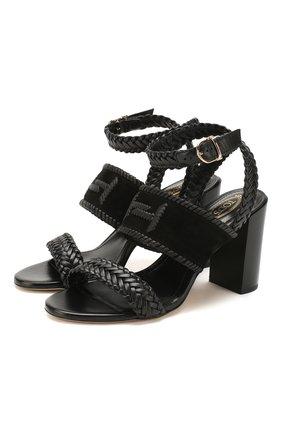 Женские кожаные босоножки TOD'S черного цвета, арт. XXW43B0CL30D8W | Фото 1