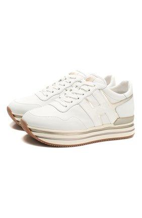 Женские кожаные кроссовки HOGAN белого цвета, арт. HXW4830CB81IEC | Фото 1