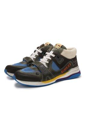 Мужские комбинированные кроссовки ultrapace GUCCI серого цвета, арт. 598132/0PVW0 | Фото 1
