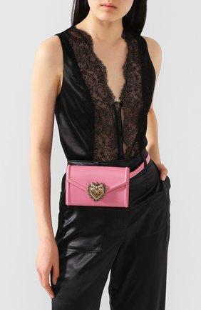 Женская поясная сумка devotion DOLCE & GABBANA розового цвета, арт. BB6706/AV893   Фото 2