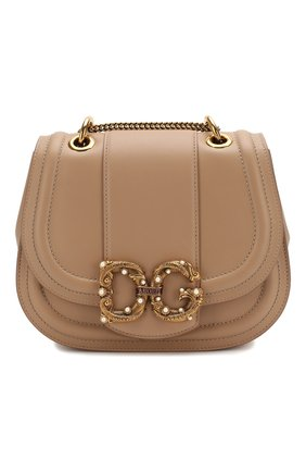 Женская сумка dg amore DOLCE & GABBANA бежевого цвета, арт. BB6677/AK295 | Фото 1 (Сумки-технические: Сумки через плечо; Материал: Натуральная кожа; Размер: small; Ремень/цепочка: На ремешке)
