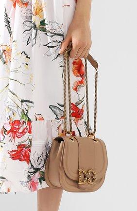 Женская сумка dg amore DOLCE & GABBANA бежевого цвета, арт. BB6677/AK295   Фото 2 (Сумки-технические: Сумки через плечо; Материал: Натуральная кожа; Размер: small; Ремень/цепочка: На ремешке)