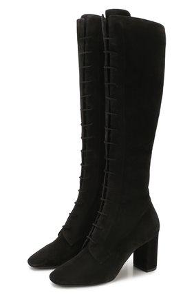 Женские замшевые сапоги laura SAINT LAURENT черного цвета, арт. 612272/0LI00 | Фото 1