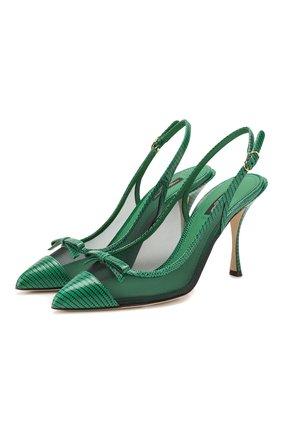 Женская комбинированные туфли DOLCE & GABBANA зеленого цвета, арт. CG0400/AX047 | Фото 1