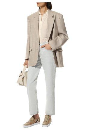 Женские комбинированные кеды BURBERRY коричневого цвета, арт. 8024330 | Фото 2