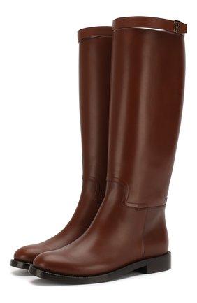 Женские кожаные сапоги BURBERRY коричневого цвета, арт. 8023887 | Фото 1