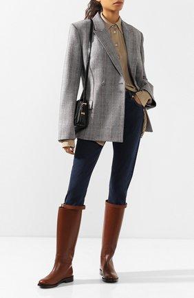 Женские кожаные сапоги BURBERRY коричневого цвета, арт. 8023887 | Фото 2