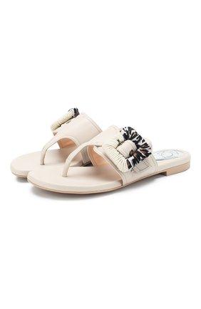 Женские кожаные шлепанцы AGL белого цвета, арт. D656018PGK6487D002 | Фото 1