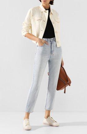 Женские кожаные кеды AGL кремвого цвета, арт. D942003PGKD010D025 | Фото 2