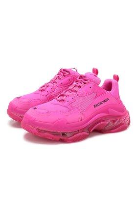 Женские комбинированные кроссовки triple s BALENCIAGA фуксия цвета, арт. 544351/W2FG1 | Фото 1