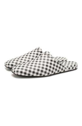 Женские кожаные сабо cosy BALENCIAGA черно-белого цвета, арт. 597344/WAWN6 | Фото 1
