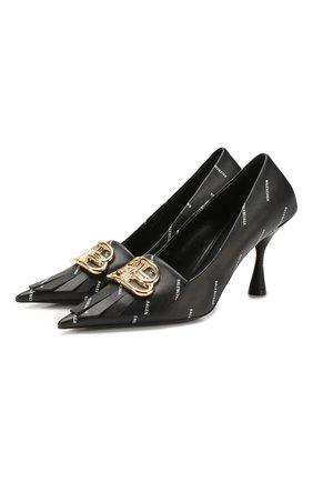 Женская кожаные туфли fringe knife BALENCIAGA черного цвета, арт. 597371/WAWN5 | Фото 1