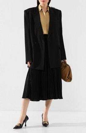 Женская кожаные туфли fringe knife BALENCIAGA черного цвета, арт. 597371/WAWN5 | Фото 2