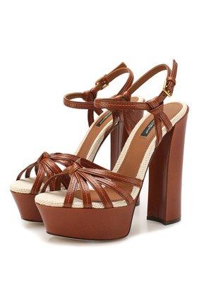 Женские кожаные босоножки keira DOLCE & GABBANA коричневого цвета, арт. CR0960/AJ902   Фото 1