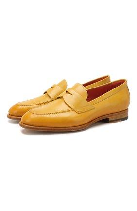 Женские кожаные пенни-лоферы SANTONI желтого цвета, арт. WUGY57751BA1CEPYL60 | Фото 1