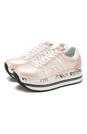 Женские кожаные кроссовки beth PREMIATA светло-розового цвета, арт. BETH/VAR4519 | Фото 1