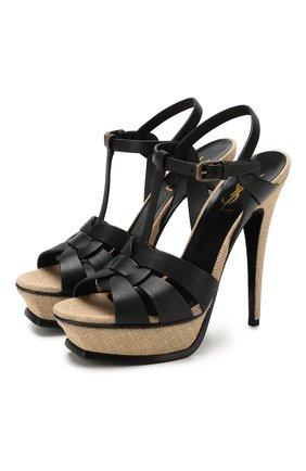 Женские кожаные босоножки tribute SAINT LAURENT черного цвета, арт. 606599/DWE00 | Фото 1 (Материал внутренний: Натуральная кожа; Подошва: Платформа; Каблук высота: Высокий; Каблук тип: Шпилька)