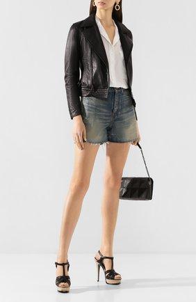 Женские кожаные босоножки tribute SAINT LAURENT черного цвета, арт. 606599/DWE00 | Фото 2 (Материал внутренний: Натуральная кожа; Подошва: Платформа; Каблук высота: Высокий; Каблук тип: Шпилька)