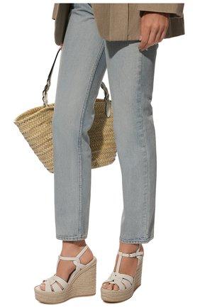 Женские кожаные босоножки espadrille SAINT LAURENT белого цвета, арт. 611924/BZC00 | Фото 2